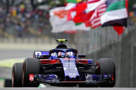 Pierre Gasly of France and Scuderia Toro Rosso driving the (10) Scuderia Toro Rosso STR13 Honda on track during practice for the Formula One Grand Prix of Brazil at Autodromo Jose Carlos Pace on November 9, 2018 in Sao Paulo, Brazil.