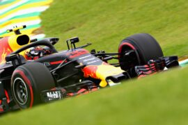 Max Verstappen of the Netherlands driving the (33) Aston Martin Red Bull Racing RB14 TAG Heuer on track during the Formula One Grand Prix of Brazil at Autodromo Jose Carlos Pace on 2018 in Sao Paulo, Brazil.