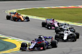 Brendon Hartley leads Sergey Sirotkin on track during the Formula One Grand Prix of Brazil at Autodromo Jose Carlos Pace on November 11, 2018 in Sao Paulo, Brazil.