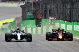 Max Verstappen overtakes Valtteri Bottas during the Formula One Grand Prix of Brazil at Autodromo Jose Carlos Pace on November 11, 2018 in Sao Paulo, Brazil.