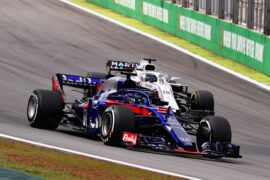 Brendon Hartley leads Lance Stroll during the Formula One Grand Prix of Brazil at Autodromo Jose Carlos Pace on November 11, 2018 in Sao Paulo, Brazil.