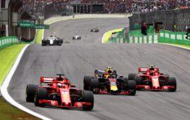 Max Verstappen, Kimi Raikkonen & Sebastian Vettel on track during the Formula One Grand Prix of Brazil at Autodromo Jose Carlos Pace on November 11, 2018 in Sao Paulo, Brazil.