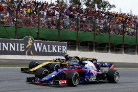 Pierre Gasly and Carlos Sainz on track during the Formula One Grand Prix of Brazil at Autodromo Jose Carlos Pace on November 11, 2018 in Sao Paulo, Brazil.