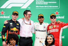 Top three finisher Lewis Hamilton of Great Britain and Mercedes GP, Max Verstappen of Netherlands and Red Bull Racing and Kimi Raikkonen of Finland and Ferrari celebrate on the podium during the Formula One Grand Prix of Brazil at Autodromo Jose Carlos Pace on November 11, 2018 in Sao Paulo, Brazil.