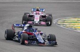 Brendon Hartley leads Esteban Ocon of France during the Formula One Grand Prix of Brazil at Autodromo Jose Carlos Pace on November 11, 2018 in Sao Paulo, Brazil.