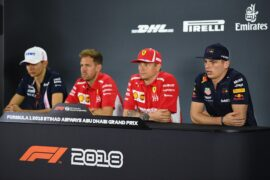 The Drivers Press Conference with Esteban Ocon of France and Force India, Sebastian Vettel of Germany and Ferrari, Kimi Raikkonen of Finland and Ferrari and Max Verstappen of Netherlands and Red Bull Racing, during previews ahead of the Abu Dhabi Formula One Grand Prix at Yas Marina Circuit on November 22, 2018 in Abu Dhabi, United Arab Emirates.