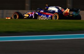 Brendon Hartley of New Zealand driving the (28) Scuderia Toro Rosso STR13 Honda on track during practice for the Abu Dhabi Formula One Grand Prix at Yas Marina Circuit on November 23, 2018 in Abu Dhabi, United Arab Emirates.
