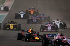 Max Verstappen of the Netherlands driving the (33) Aston Martin Red Bull Racing RB14 TAG Heuer battles for position during the Abu Dhabi Formula One Grand Prix at Yas Marina Circuit on November 25, 2018 in Abu Dhabi, United Arab Emirates.