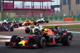 Max Verstappen of the Netherlands driving the (33) Aston Martin Red Bull Racing RB14 TAG Heuer leads Sergio Perez of Mexico driving the (11) Sahara Force India F1 Team VJM11 Mercedes on track during the Abu Dhabi Formula One Grand Prix at Yas Marina Circuit on November 25, 2018 in Abu Dhabi, United Arab Emirates.