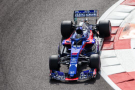 Sean Gelael of Indonesia driving the (38) Scuderia Toro Rosso STR13 Honda on track during day one of F1 End of Season Testing at Yas Marina Circuit on November 27, 2018 in Abu Dhabi, United Arab Emirates.