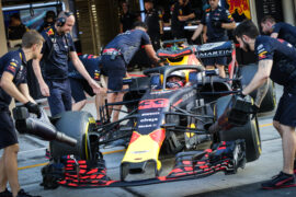 Max Verstappen of the Netherlands driving the (33) Aston Martin Red Bull Racing RB14 TAG Heuer stops in the Pitlane during day one of F1 End of Season Testing at Yas Marina Circuit on November 27, 2018 in Abu Dhabi, United Arab Emirates.