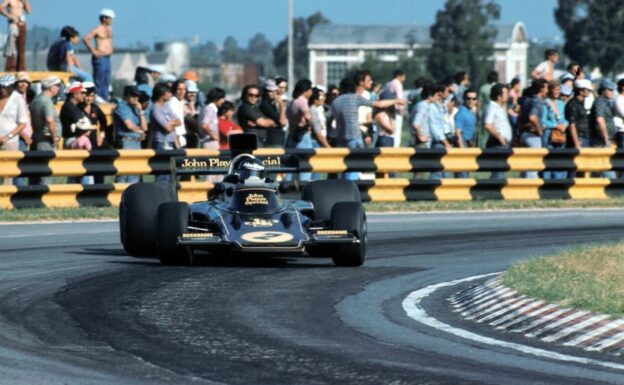 Jacky Ickx power sliding in the Lotus 72E 1974 (1973-1975)