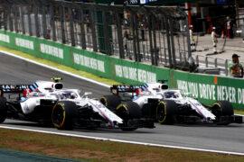 Interlagos, Sao Paulo, Brazil Sunday 11 November 2018. Sergey Sirotkin, Williams FW41 Mercedes, leads Lance Stroll, Williams FW41 Mercedes.