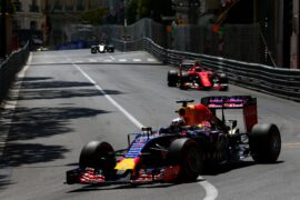 Daniel Ricciardo driving the Red Bull RB11 Renault in Monaco (2015)