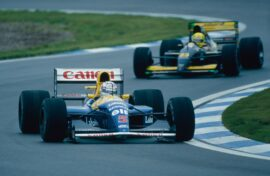 Nigel Mansell driving the Williams FW15 (1992)