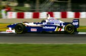 Damon Hill driving the Williams FW18 Renault on Circuit Gilles Villeneuve (1996)