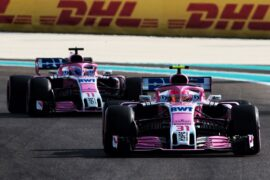 Esteban Ocon (FRA) Racing Point Force India F1 VJM11 leads team mate Sergio Perez (MEX) Racing Point Force India F1 VJM11. Abu Dhabi Grand Prix, 2018