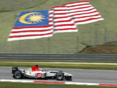 Jenson Button driving the BAR-Honda 005, Sepang circuit, Malaysia (2003)