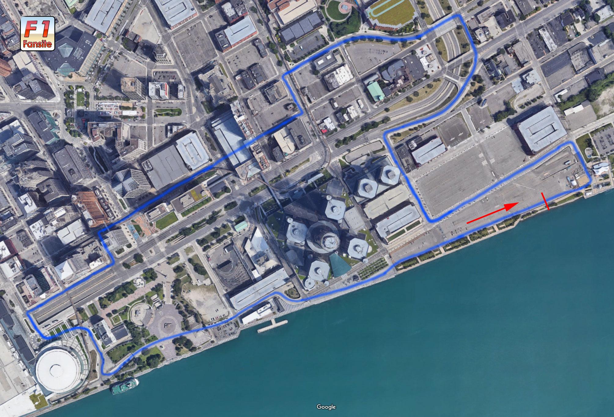 Detroit F1 Street circuit layout