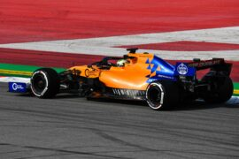 Lando Norris ends up in the gravel