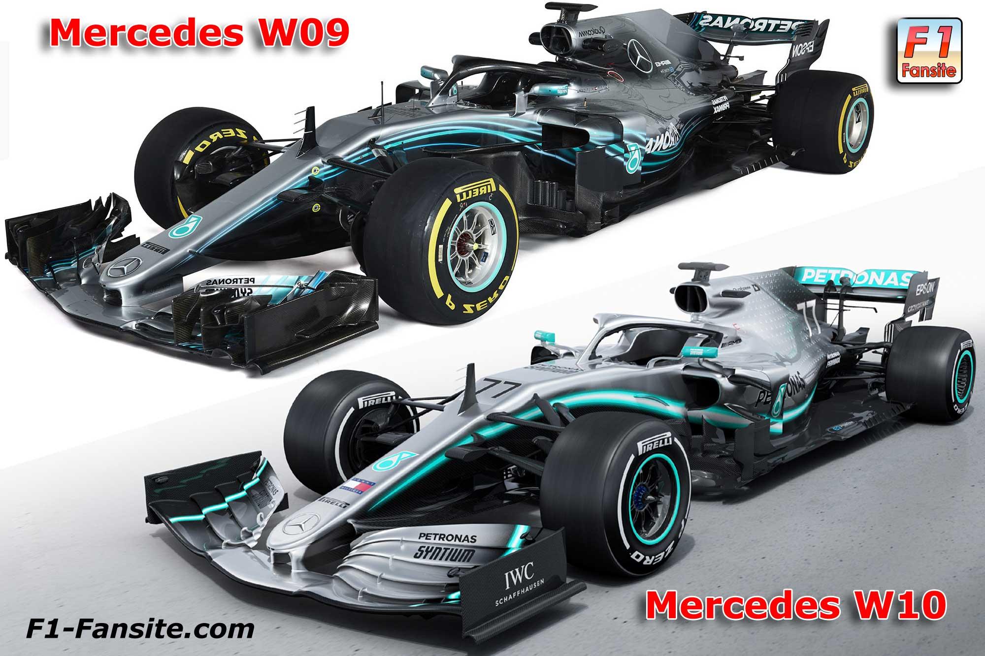 FORMULA 1 - TEMPORADA 2020/F2 Series Mercedes-W10-VS-Mercedes-W09-left-front-view