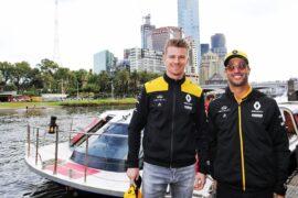 Nico Hulkenberg & Daniel Ricciardo Renault F1 Team at the F1 Season Launch in Federation Square. Australian Grand Prix 2019.