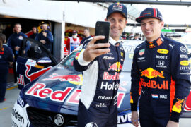Max Verstappen and V8 Supercars driver Jamie Whincup of Australia prepare for a lap in the Holden ZB Commodore during previews ahead of the F1 Grand Prix of Australia at Melbourne Grand Prix Circuit on March 14, 2019 in Melbourne, Australia.