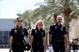 Red Bull Racing Team Principal Christian Horner, Adrian Newey, the Chief Technical Officer of Red Bull Racing walk in the Paddock before practice for the F1 Grand Prix of Bahrain at Bahrain International Circuit on March 29, 2019