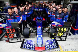 Alexander Albon of Thailand and Scuderia Toro Rosso, Daniil Kvyat of Russia and Scuderia Toro Rosso, Scuderia Toro Rosso Team Principal Franz Tost and the Scuderia Toro Rosso team pose for a photo to commemorate the teams 250th Formula One race before the F1 Grand Prix of China at Shanghai International Circuit on April 14, 2019.