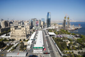Start of the race during the 2019 Azerbaijan GP at Baku City Circuit