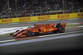Sebastian Vettel gets passed by Charles Leclerc, Ferrari SF90 during the 2019 Bahrain GP