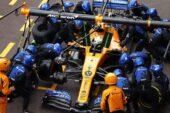 Lando Norris making his pitstop in the McLaren MCL34 at Monaco (2019)
