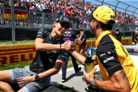 George Russell (GBR) Williams Racing with Daniel Ricciardo (AUS) Renault F1 Team on the drivers parade. Canadian Grand Prix, Sunday 9th June 2019. Montreal, Canada.