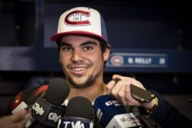 Lance Stroll meets the Montreal Canadiens ice hockey team at the Bell Stadium Canada 2019