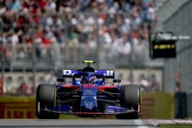 Alexander Albon of Thailand driving the (23) Scuderia Toro Rosso STR14 Honda on track during practice for the F1 Grand Prix of Canada at Circuit Gilles Villeneuve on June, 2019 in Montreal, Canada.