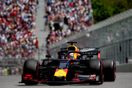 Max Verstappen of the Netherlands driving the (33) Aston Martin Red Bull Racing RB15 on track during qualifying for the F1 Grand Prix of Canada at Circuit Gilles Villeneuve on June 08, 2019 in Montreal, Canada.