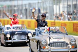 Pierre Gasly of France and Red Bull Racing waves to the crowd on the drivers parade before the F1 Grand Prix of Canada at Circuit Gilles Villeneuve on June 09, 2019 in Montreal, Canada.