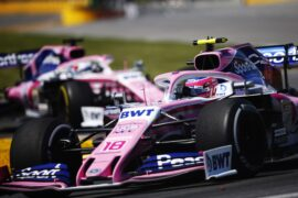 Lance Stroll, Racing Point RP19, leads Sergio Perez, Racing Point RP19 Canadian GP F1/2019