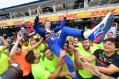 Third placed Daniil Kvyat of Toro Rosso celebrates with his team after the F1 Grand Prix of Germany at Hockenheimring on July 28, 2019 (Photo by Dan Mullan/Getty Images)