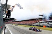 Third placed Daniil Kvyat Toro Rosso STR14 Honda crosses the finish line during the F1 Grand Prix of Germany at Hockenheimring on July 28, 2019 (Photo by Mark Thompson/Getty Images)