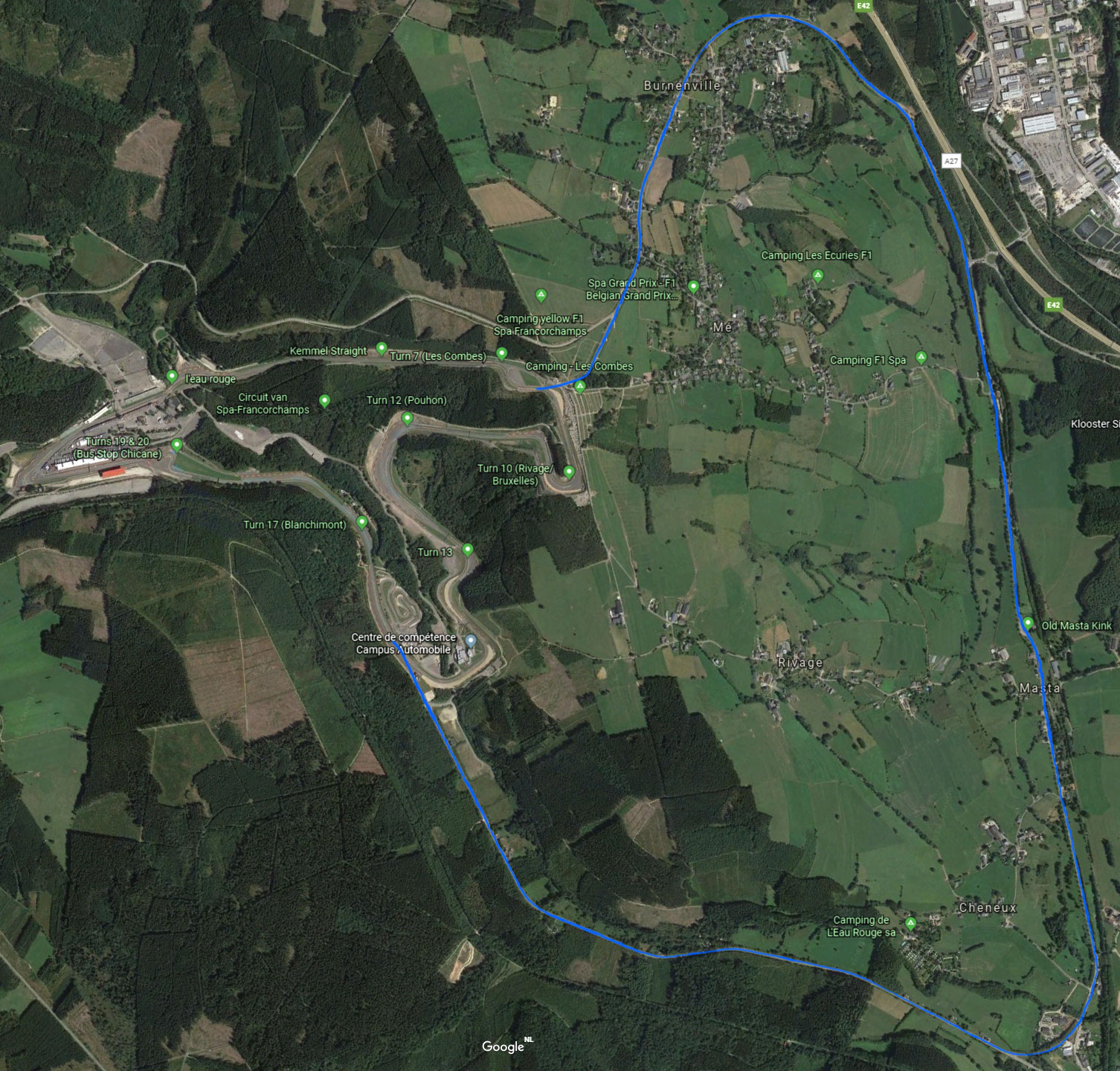 The old and new Spa-Franchorchamps circuit layout