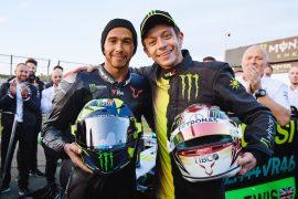 Rossi & Hamilton drive-swap at Valencia circuit