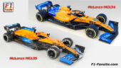 McLaren MCL34 VS MCL35 right front view