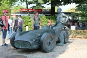 Statue of Juan Manuel Fangio that stands at the infield of the Monza circuit