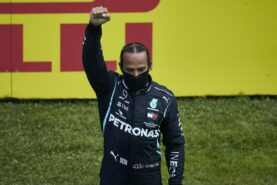 Lewis Hamilton on the podium after winning the Styrian GP