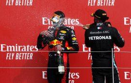 Max Verstappen & Lewis Hamilton on the podium