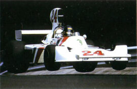 James-Hunt driving the Hesketh around the Nurburgring during the 1975 German GP