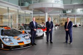 (L-R) Mike Flewitt McLaren Automotive CEO, Mike Jones Gulf Oil International Ltd CEO & ZakBrown McLaren Racing CEO