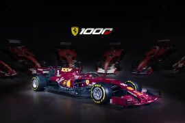 The Ferrari SF1000 in the 1000th race livery