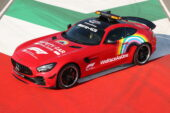 Mercedes gesture towards Ferrari's 1000th race is a red pace car.